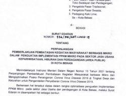 Pemerintah Kota Bekasi memberlakukan perpanjangan Pelaksanaan Pembatasan Kegiatan Masyarakat